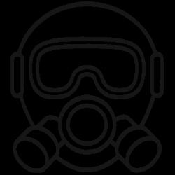 icon of hazardous mask headpiece flat black and white